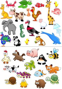 Beautiful cartoon animals vector | Cartoon Animals | Pinterest