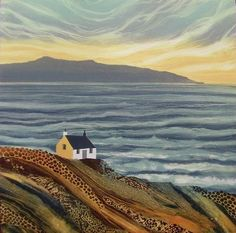 Powerful and expressive art of seascapes with rocky headlands and castles by northumberland landscape artist Rebecca Vincent Landscape Art Quilts, Landscape Paintings, Watercolor Landscape, Landscape Photos, Expressive Art, Naive Art, Painting Inspiration, Gustav Klimt, Art Gallery