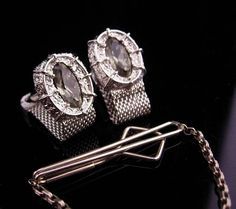 Vintage Smoky topaz Cufflinks / silver Mesh wrap / Wedding