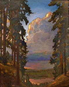 Landscape Painting Print Fine Art Lake Scene Jan Schmuckal Signed Matted 11x14 - Clouds Above The Lake