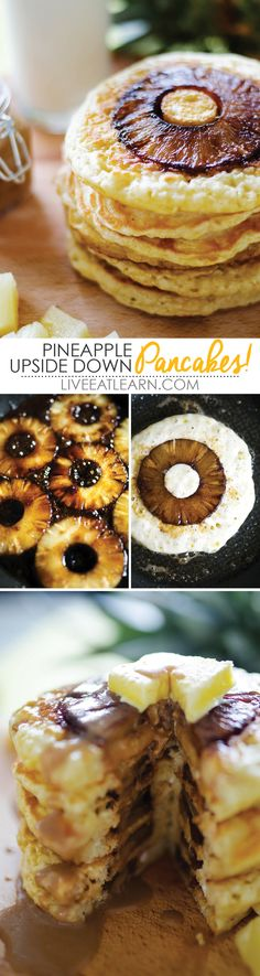 This homemade Pineapple Upside Down Pancake recipe is bursting with tropical fruit and drizzled with delicious, easy coconut syrup. Breakfast is served! // Live Eat Learn
