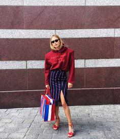 7 chic fashion blogger outfits to copy from this week's best Instagrams: Pernille Teisbaek in a Vetements sweatshirt and Altuzarra pencil skirt