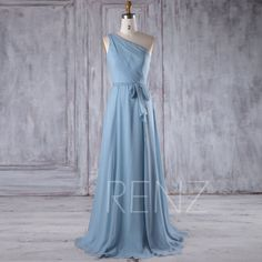 2017 Blue Chiffon Bridesmaid Dress with Belt, One Shoulder Wedding Dress, Long Ball Gown, A Line Elegant Dress Floor Length (L247)