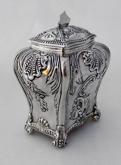 Tea Caddy Baroque Shell Scroll Louis XVI Ferdinand Fuchs Brothers 1885 Sterling Silver