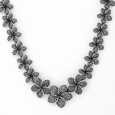 Sterling Silver Marcasite Flower Necklace $600
