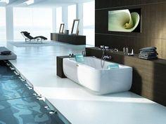 Trend Whirlpool rectangular bathtub for chromotherapy AQUASOUL DOUBLE by Jacuzzi Europe design Carlo Urbinati