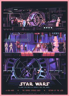 Star Wars original trilogy poster | #starwars #starwarsart #pixelart #pixel #jedi #lukeskywalker #princessleia #darthvader #hansolo