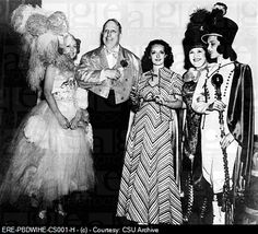 Caption: Costume party at San Simeon. Irene Dunne, William Randolph Hearst, Bette Davis, Louella Parsons & Mary Brian, 1937.