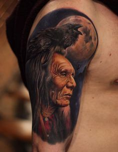 Indian sleeve by Jose Contreras. http://tattooideas247.com/indian-sleeve/
