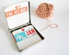 How cool - vintage luggage tag calendar. So cool for travelers! | Girl in Gear Studio