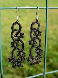 Black Shuttle Tatted Earrings (sterling silver hooks) by TheFruitOfHerHandz on Etsy, $18.00