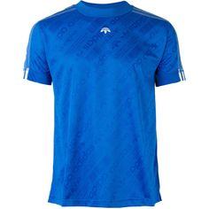 Adidas Originals By Alexander Wang Soccer Jersey (6,420 INR) ❤ liked on Polyvore featuring tops, blue jersey, blue short sleeve top, short sleeve jersey, sleeved jerseys and sleeve top
