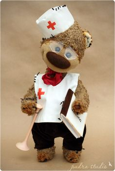 "Christopher from ""Pudra studio"".  Artist teddy bears by Irma Papeikaite."