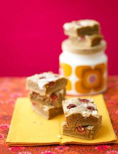 Raspberry and white chocolate blondies Cooking the butter until nutty and golden gives these blondies the edge before they've even made it to the oven. Scatter in blackberries instead of raspberries as the seasons change.