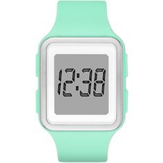Womens Rectangular Mint Silicone Strap Digital Watch (105 DKK) ❤ liked on Polyvore featuring jewelry, watches, water resistant watches, silicone strap watches, digital watches, bracelet jewelry and rectangular digital watches