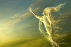 1920x1200 Wallpaper angel, light, field