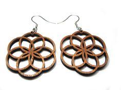 Yoga Lotus Earrings, hook on a leaf, Wooden earings, Seed of Life, Sacred Geometry Wood Jewelry, Bohemian earrings, Circle laser cut earings by GoaLaserFactory on Etsy