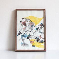 Art Print  Norwegian Fjord Parachute  Ink and by JaslyneGanStudio