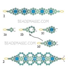 Free pattern for beaded bracelet Lime   U need: pearl beads 2 mm pearl beads 4 mm