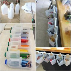 Plastic Bottle Stationery Storage and paper roll for free class time (measure tape so no waste)