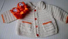 Conjunto com 2 peças:    - 1 Casaquinho para bebê feito de crochê, sem costuras.    Uso de linha 100% algodão, antialérgica e própria para peles delicadas    Cor cru e detalhes em laranja, com 2 bolsinhos costurados    Fechamento com 4 botões, o que permite maior conforto, sem que o casaco se abr...