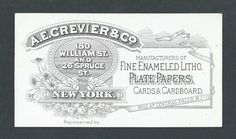 A.E. Crevier Co. NY - Enameled Litho Papers & Cards - Trade Card   Crevier's main office was in Manhattan, with their paper mill located in Central Falls, Rhode Island.  They made enameled litho plate papers, cards & cardboard. Reverse has great wood engraving of their paper mill.