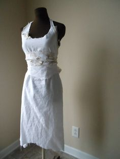 bcc2c8ac654 French Country Linen Wedding Dress Rustic Tattered Bespoke Shabby Fashion  Beach Woodland Bridal Gown.  1