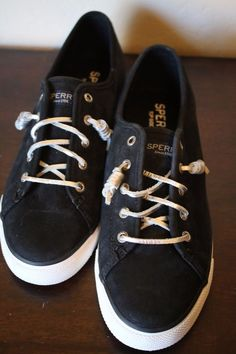 c040fee330 Sperry Top Sider Women s Tennis Shoes Black Seacoast Sliver Tie Suede Size  9.5  SperryTopSider  Fashion