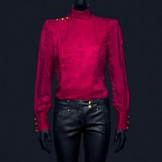 How gorgeous is this intricately patterened red dress shirt? LOVE the shoulder detail from Balmain's H&M collaboration