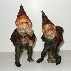 Two-Antique-Terra-Cotta-GARDEN-GNOMES-Great-color-and-expression
