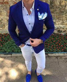 Deep Blue Blazer outfit for men #suit #pocketsquare #mensfashion #menswear