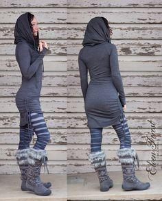 Hi-Lo Scrunchie Dress ~ with cowl hood and kangaroo pocket and thumb holes ~ adjustable length
