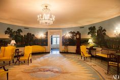 Leaving the busy chefs to their work, we ventured down the hall to the Diplomatic Reception Room. Not on the public tour, this area serves as the primary point of entry for the Obamas into the White House. The space is stunning. Federal-style furnishings are arranged in front of its crown jewel: an exquisite panoramic landscape wall covering.