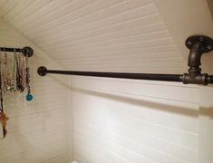 custom closet rods charming closet rods and brackets custom size nickel hanging closet charming closet rods and brackets sloped ceiling closet rod bracket 2 closet rod brackets angled ceiling charming Attic Wardrobe, Attic Closet, Closet Rod, Closet Bedroom, Attic Office, Upstairs Bedroom, Slanted Ceiling Closet, Slanted Walls, Sloped Ceiling