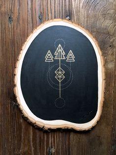Geometric Minimal Tree Illustration on Wood Slice by ErinKunzDesign on Etsy https://www.etsy.com/listing/278642568/geometric-minimal-tree-illustration-on