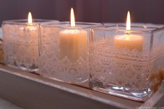lace covered candle holder | Pretty cute right? I just LOVE how they turned out and I can't wait ...
