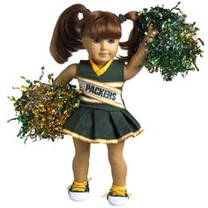 Green Bay Packers Cheerleader Doll Outfit at the Packers Pro Shop http://www.packersproshop.com/sku/4005163037/