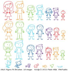 Stick Figures Photoshop Brushes, Stick People, Family and Pets Brushes - Commercial and Personal Use