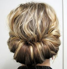 This chignon is great for gals with shoulder-length hair.