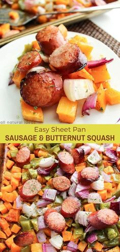 Add the taste of fall to your table with this Roasted Butternut Squash and Sausage! This recipe will be a refreshing change from your usual fall dishes. #sausage #sheetpanmeal #butternutsquash #lowcarb #glutenfree #paleo #cleaneating #wholefoods #whoe30 | allnaturalideas.com via @allnaturalideas