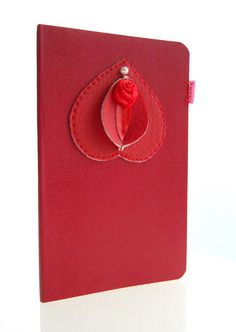 Vulvette on Moleskine notebook blood red plain xs door ampule