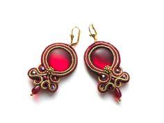 soutache earrings: Red Wine - sutasz w Bajobongo na DaWanda.com
