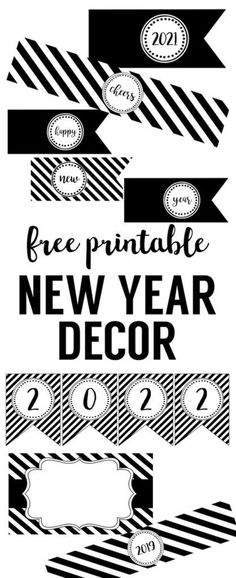 Happy New Year Party Printables. Free printable decor for your New Years Eve party. New years flags, bottle wrappers, banner, food labels, photo booth, and more.