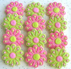 SPARKLE FLOWERS  Flower Cookie Favors  Flower by lorisplace