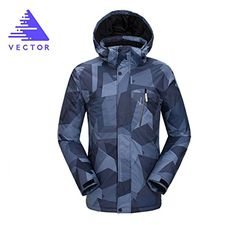 VECTOR Outdoor Sports TPU Waterproof Breathable Fabrics Men's Ski Clothing Windproof Climbing Snow Mountain Cotton Coat Jacket Ski Suit(Black&Gray,XL) -- Awesome products selected by Anna Churchill