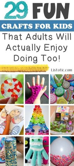 Craft Ideas for Kids! A huge list of cool crafts for kids. Easy DIY and craft ideas that will be fun for children but also fun craft ideas for adults too. See all the best crafts for kids in this list of easy craft ideas for kids to make at home on Listotic. Crafts For Kids To Make, Craft Activities For Kids, Crafts For Teens, Projects For Kids, Craft Projects, Kids Crafts, Craft Ideas, Adult Crafts, Kids Diy