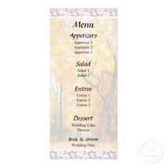 Autumn Path Wedding Menu by Susan Savad -- Autumn wedding menu that you can customize yourself. #wedding #weddingmenu #weddingmenus #customize #gettingmarried #autumn #fall   $0.55  per card   BULK PRICING AVAILABLE!