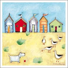 New Friends.  Summery, seaside image by Louise Rawlings.  The card is left blank inside for your own greeting.