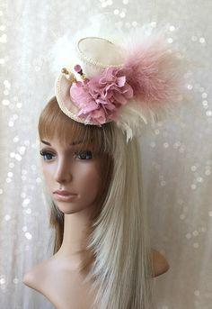 Mini Top hat Pink Blush hat Alice in Wonderland Mad Hatter