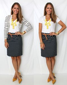 20 Fall Outfits for Inspiration- stripe cardi with dot skirt.... Hummmmm,